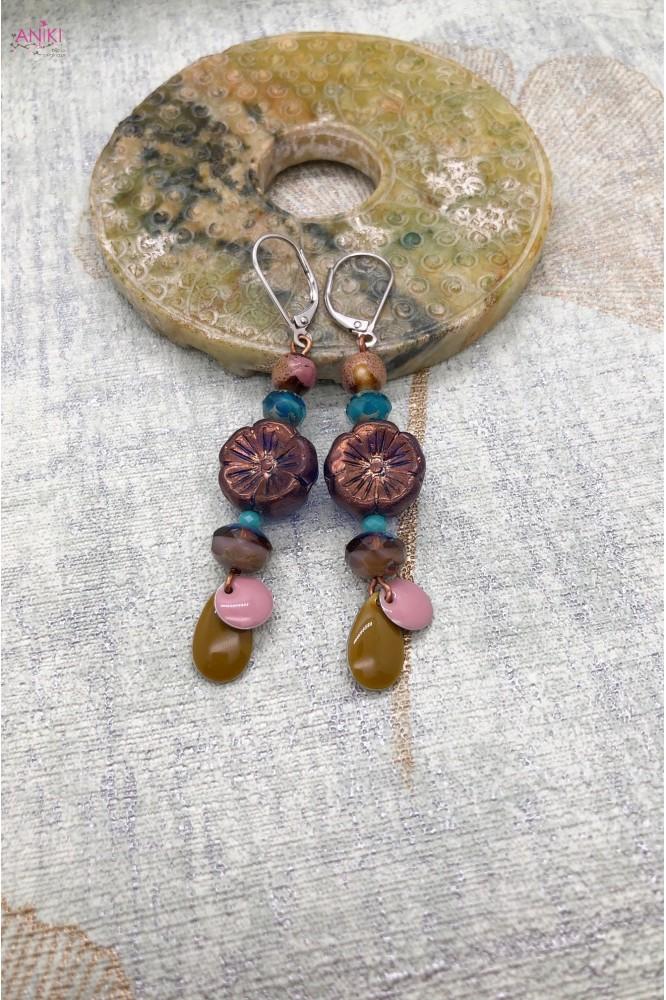 Boucles d'oreilles fleur bronze