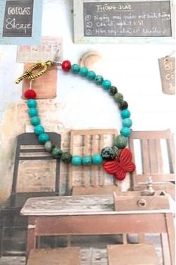 bracelet Papillon rouge