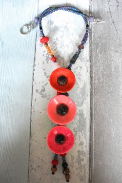 Collier 3 Pavots Rouge