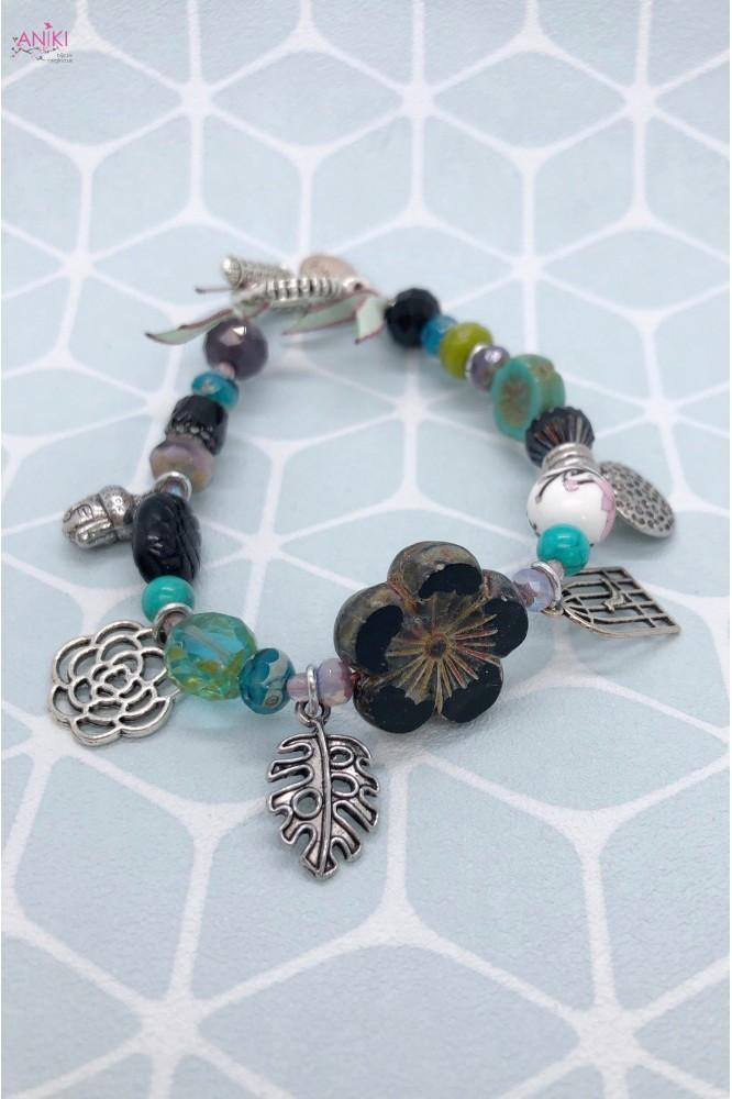 bracelet agata black flower 1