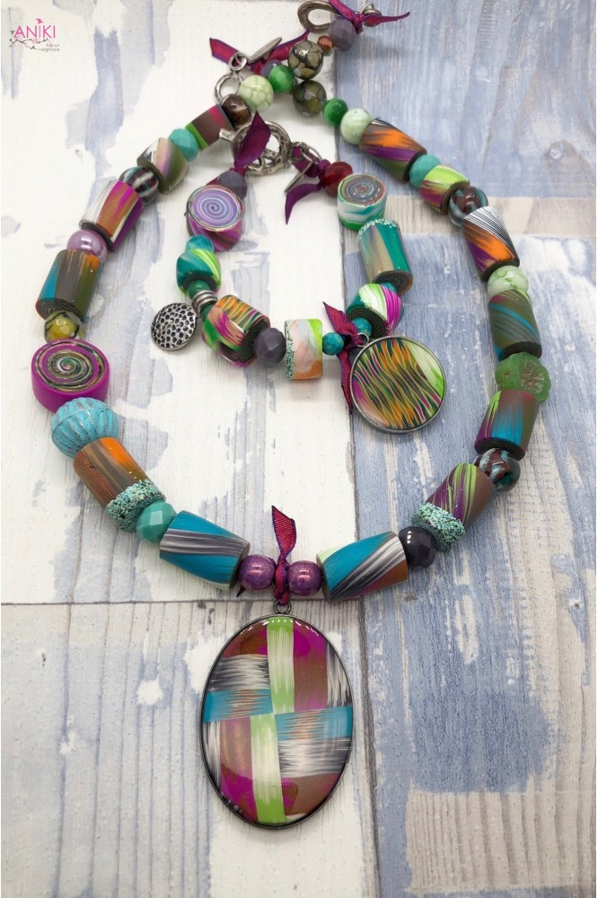 collier et bracelet IKAT