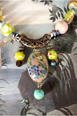 Collier Bali cloisonné perles rose