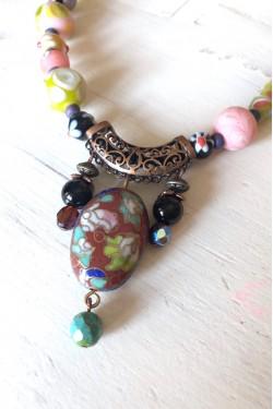 Collier Bali cloisonné perle terre de sienne