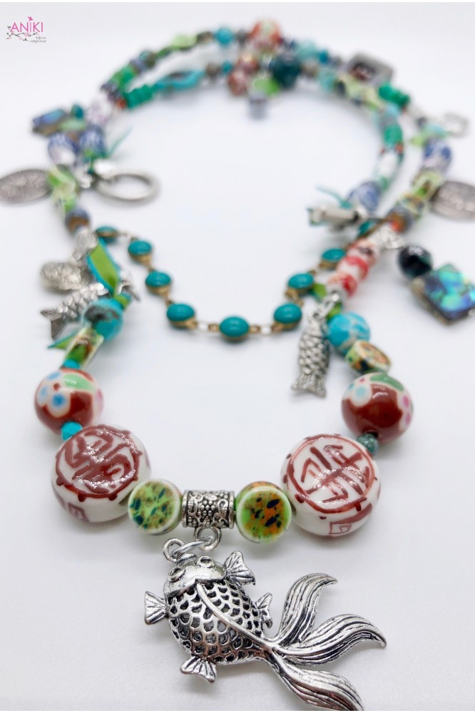 collier chinoiserie pampille