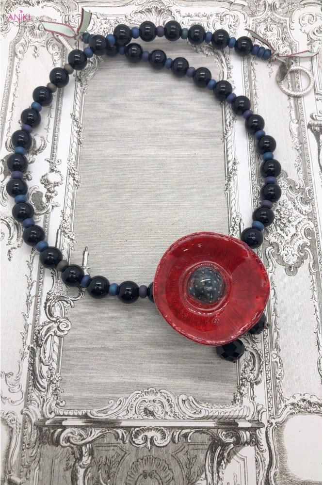 collier pavot Rouge